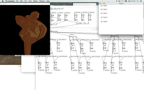 Fingers coordinates are tracked in order to manipulate the sculpture in real time